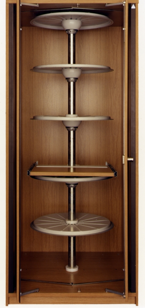 Waeller filing systems wooden carousel cabinets for Carousel for kitchen cabinets
